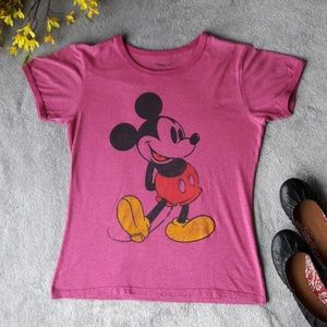 Disney Mickey Mouse Pink T Shirt Tee Top